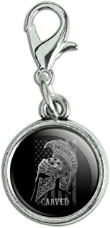 Carved Molon Labe USA American Flag Spartan Helmet 2nd Amendment Antiqued Bracelet Pendant Zipper Pull Charm with Lobster Clasp