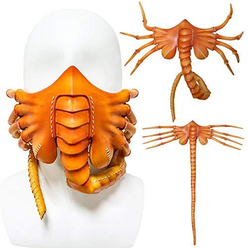 BOOLLY Halloween Party Funny Face Mask Scorpion Mask Facehugger Latex Mask-CRAZY - Halloween Cosplay Maske, Erwachsene Facehugger Latex Vollgesicht Fancy Dress Kostüm Scary Verkleidung Masks