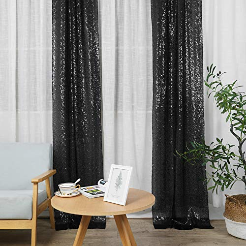 Hahuho Black Sequin Backdrop Curtain, 2PCS 2FTx8FT Glitter Backdrop Curtain for Parties, Christmas, Wedding, Party Decoration(2 Panels, 2FT x 8FT, Black)