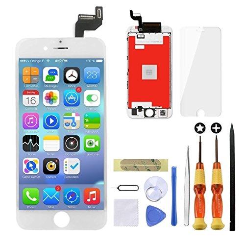 GULEEK Display per iPhone 6S Schermo 4,7 Pollici LCD Touch Screen Frame Vetro Schermo Kit Smontaggio Trasformazione Completo di Ricambio Utensili Inclusi (Bianco)