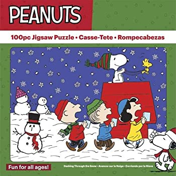 """The Jigsaw Puzzle Factory Peanuts Charlie Brown Christmas Holiday Puzzle Games for Ages 12 and Up 100 Piece Full Size is 11"""" X 15"""" 100% Biodegradable Dashing Through The Snow"""