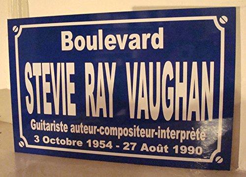 Noir & Mat Sérigraphie Stevie Ray Vaughan Plaque de Rue Objet Collection Cadeau pour Fan déco Originale