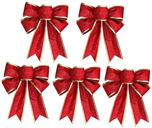 10 Stück Ornamente Weihnachten Schleifen, Gold Rot Band Bogen Weihnachtsbaum, Weihnachtskranz, Geschenk Dekoration 12cm