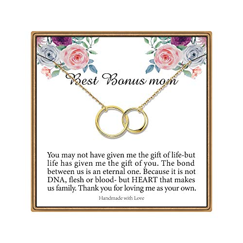 IEFLIFE Bonus Mom Gifts, Two Circles Necklace Stepmom Step Mom Gifts from Daughter Gifts for Stepmom from Daughter