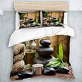Juego de Funda nórdica, trillizos de Piedras de Masaje Zen asiático con Aceite de Hierbas y Velas aromáticas, Juego de Ropa de Cama de Tacto Suave y Relajado, 3 Piezas