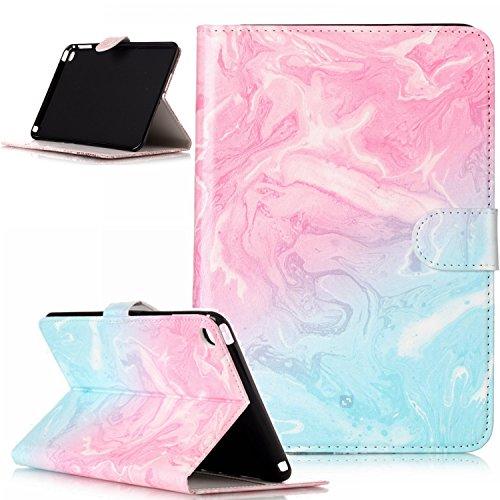 ikasus Coque iPad mini 4 Etui,Couleur peinte Papillon Fleur Marbre Housse Cuir PU Housse Etui Coque Portefeuille supporter Flip Case Etui Housse Coque pour iPad mini 4,Marbre bleu rose