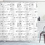 Ambesonne Back to School Shower Curtain, School for Math and Geometry with Science Formulas Chalk Board Style Image, Cloth Fabric Bathroom Decor Set with Hooks, 70' Long, Black and White