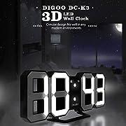 DIGOO 3D LED Digital Wecker, Multifunktions Digital Wecker, Dekorative Wanduhr, DREI Einstellbare Helligkeit, Snooze-Funktion, 12/24 Stunden-Anzeige, Einfaches Design, Fernbedienung Optional