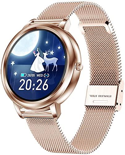 Pulsera de fitness para mujer con monitor de ritmo cardíaco resistente al agua IP67 fitness tracker reloj podómetro cronómetro reloj inteligente para Los Android-correa de acero_Silver
