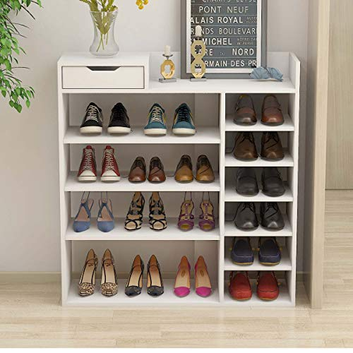 Lifetech Wooden Shoes Rack White 6 Tiers Shoe Rack Organizer Hallway Storage Stand Suitable for Small Spaces