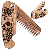 Beard Comb for Men - Pocket Folding Combs for Mustache & Hair. Travel, Natural Wooden Comb with Crafted Skull Engraving - Perfect for Use w/Beard Balm, Oil