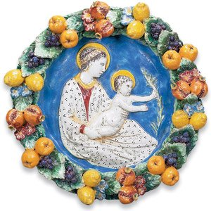 Ornato Collection Hand Painted Toscana Della Robbia with Madonna and Child from Italy