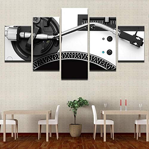 TXFMT Geen Frame Canvas Decoratie Schilderen Handgemaakte DIY Muziek DJ Console Instrument Mixer 5 Stuk Modern Landschap Artwork hd Foto's Schilderijen op Canvas Muur Kunst voor Woonkamer Slaapkamer Decoraties 150*100CM