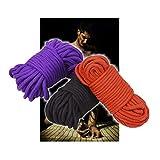 (32 pies 10 m) cuerda de algodón torcida suave y sedosa (rojo, púrpura, negro)