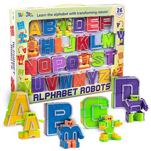 BleuZoo Alphabet Robots Action Figure Alpha-Bots Educational ABC Letters Preschool Learning Stem Montessori Classroom Teaching Toy for Kids Toddlers - 26 Pieces