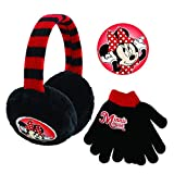Disney Toddler Winter Earmuffs and Kids Gloves,Minnie MouseEar Warmers, Black, Little Girls, Ages 4-7