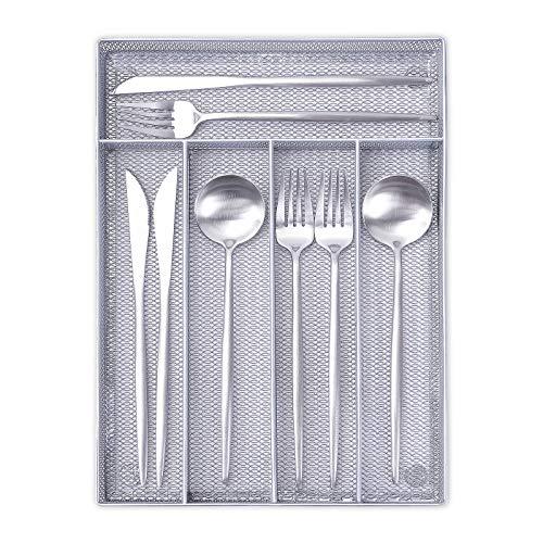 Bandeja para Cubiertos, 5 Compartimentos Organizador de Cubiertos Metal Bandeja para Cajón de Cubiertos con Patas Antideslizantes