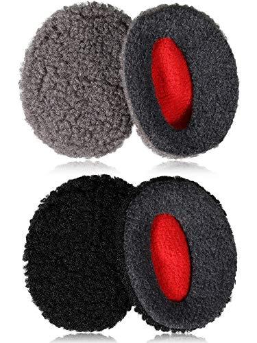 2 Paare Bandlose Ohrmuscheln Ohrenschützer Ohrenwärmer Flaumig Winter Ohrhauben für Frauen Männer im Freien, M Größe, Grau und Schwarz