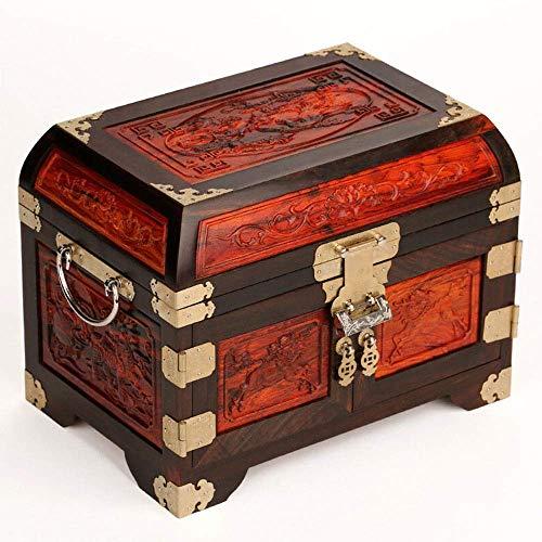 QULONG Roter Palisander Holz Mahagoni übergroße Massivholz Kosmetikspiegel mit Schloss Schmuck Aufbewahrungsbox bemalt Lack Muttertag, Mutter