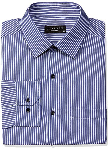 Diverse Men's Striped Regular fit Cotton Poly Formal Shirt (DVF01F1L01-404_40_Royal Blue and White)