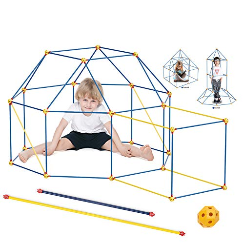 Construction Fort Building Kit for Kids Boys Girls, WUEAOA Castle Tunnels Make Play Tent Tower, Toys for DIY Builder Indoor Outdoor, with Connecting Rods & Multilink Spheres, 100 Pcs(3-12 Age)