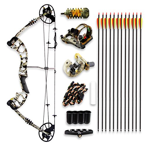 "Camo Hunting Archery Compound Bow - 320 FPS Camoflauge Gear W/Fiberglass Limb, Peep Sight, 30-70 lbs Adjustable Draw Weight, 23.5""-30.5"" Length, Metal Riser 4 String Silencers - SereneLife"