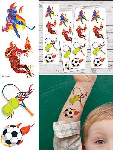 Supperb Temporary Tattoos I Love Sports Hockey Basketball Tennis Soccer Tattoo Tattoos Set of product image
