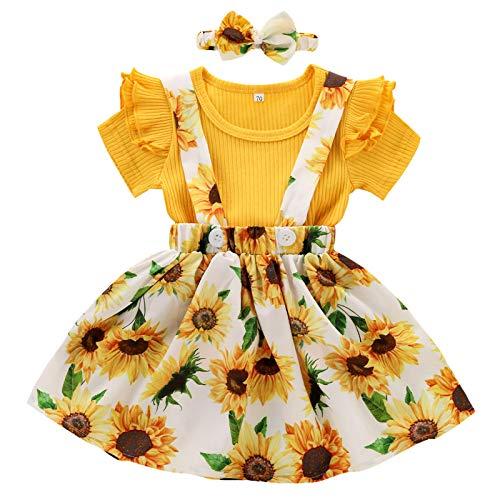 2021 Neu Sonnenblume Baby Mädchen Kleidung Set Kleinkind Mädchen Prinzessin Kleid Sommerkleid 3 Stück Outfits Kinder Kurzarm Rüsche T Shirt Tops + Blume Riemen Rock + Haarband Dreiteiligen Anzug
