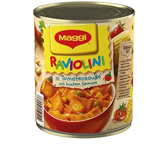 Maggi Raviolini in Tomatensauce, vegetarische Mini-Teigtaschen in fruchtiger Sauce, mit buntem Gemüse, für Topf und Mikrowelle, 1er Pack (1 x 800g)