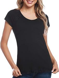 38db33832d555 Aibrou T-Shirt Col V Manches Courtes Blouse Ete Chemise Chic Tank Top  Elegant Vintage