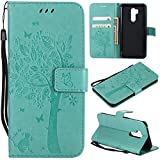 Ropigo Emboss 3D Tree Cat Flowers Wallet Case for LG G7 ThinQ Flip Leather Protective Case with Wrist Strap,Magnetic Closure,Credit Card Slots Holder,Kickstand Function Mint Green
