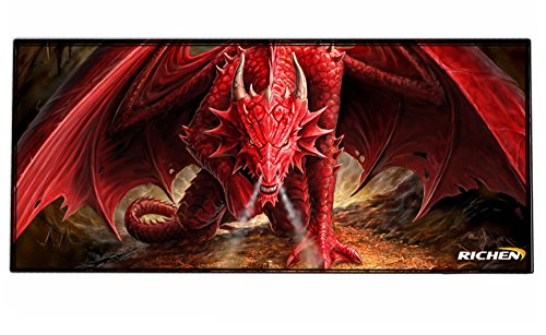 RICHEN Large Gaming Mouse Pad Mat, Office Mouse Pad Extra Large Size, Washable Material Extended XXL Size Mouse Mat Pad, Non-Slippery Rubber Base,35.4 x 15.5 inches (Edge Stitched)(GMP-16)