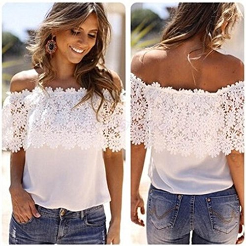 AIMTOPPY Sexy Women Off Shoulder Casual Tops Blouse Lace Crochet Chiffon Shirt (M)