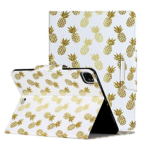Case for New iPad Pro 11 inch 2020 (2nd Generation) Ananas Pattern,Shinyzone Premium PU Leather Folding Stand Case with Sleep Mode Magnetic Clasp Protective Cover for iPad Pro 11 2020
