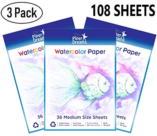 3 Pack - Total of 108 Sheets of Watercolor Paper (11.7' x 8.3') - Heavy Stock (98lb), 100% Cotton, Loose White Sheets. Perfect for Kids, Students & Adults