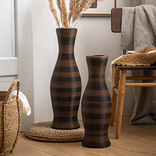 HuiDao Tall Floor Vase 20' High Bamboo and Artificial Rattan Standing Vase Floor Vase for Home Office Living Room Decor (Style 3, Small)
