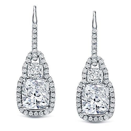 IGI Certified 18k White Gold Cushion-cut Dangle Diamond Earrings (8 1/6 cttw, I-J, VS1-VS2)