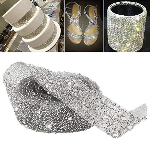 HEEPDD 1 Cortile Nastro di Strass di Cristallo, Nastro Strass Sparkle Diamond Wrap Roll per Decorazione Collare Clip di Capelli Applique Cinghia Vestiti Promenade(Silver)