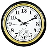 SMILEMARY 12-Inch Indoor/Outdoor Retro Silent Non-Ticking Waterproof Wall Clock with Thermometer,Battery Operated Quality Quartz Round Clock Wall Decorative for Patio/Home