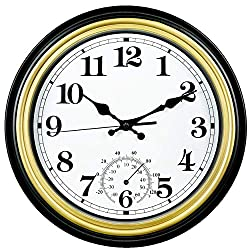12 Inch Indoor/Outdoor Retro Silent Non-Ticking Waterproof Wall Clock with Thermometer,Battery Operated Quality Quartz Round Clock Wall Decorative for Patio/Home