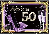 新しい2.1x1.5mVinyl誕生日の背景50歳の誕生日の背景ゴールドパープルレディースヒールフレームの背景写真撮影パーティー