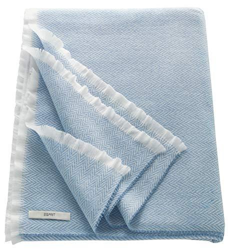 ESPRIT Herringbone Sommerdecke Blau • Leichte Tagesdecke 150 x 180 cm • sehr weich und pflegeleicht • In Deutschland hergestellt
