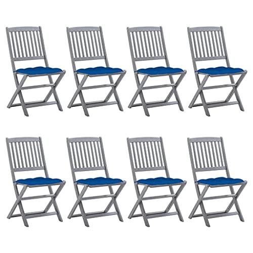 vidaXL 8 sedie da giardino in legno di acacia massiccio, pieghevoli, con cuscini senza braccioli, sedie pieghevoli e da giardino, sedie in legno