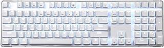 Qisan Cherry MX Blue Switch Teclado mecánico para Juegos Teclado con Cable Teclado de retroiluminación 108 Teclas Teclado Blanco Magicforce