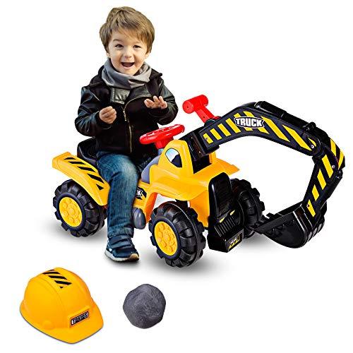 GOPLUS Sitzbagger Kinderbagger, Kinderfahrzeug Pedalfrei inkl. Schutzhelm und Künstlicher Steine, Sandspielzeug mit LED-Licht, Musik, Funktionstüchtiger Schaufelbagger für Kinder ab 3 Jahre