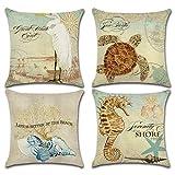 Set mit 4 Kissenbezügen im mediterranen Stil, Baumwoll-Leinen, Meeresmotiv, dekorativer,...