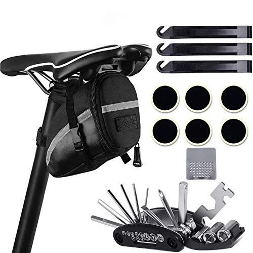 Atuful Fahrrad Werkzeug Set satteltasche Multitool 16 in 1 Werkzeug für Fahrrad Reparatur Set Fahrradwerkzeugtaschen Rahmentasche