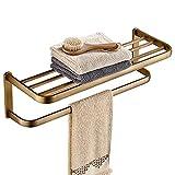 JHSLXD Toallero de Cobre, Toallero Estante Accesorios de baño Estante de Toalla de Doble Capa Accesorios de decoración de...