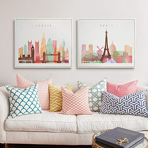 Swallow Acuarela Londres Nueva York París City Skyline Poster Print Canvas Painting Wall Art Pictures Living Room Home Decor-50x70cmx2 pcs sin Marco