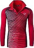 jeansian Hombre Sport Dry Fit Deportiva tee Shirt Tshirt T-Shirt Manga Larga Tenis Golf Bowling Camisetas LA307 Red L